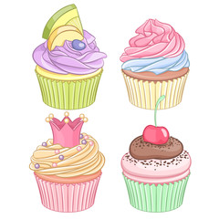 A set of colorful cupcakes isolated on white background.