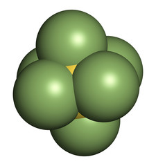 sulfur hexafluoride gas insulator molecule. Microbubbles are used as contrast agent for ultrasound imaging. Potent greenhouse gas.