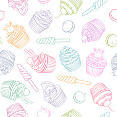Colorful linear cupcake lollipop marshmallow seamless pattern.
