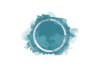 Aquarell Farbfleck in blau mit weißem Kreis in der Mitte, hochauflösende Illustration für kreative Designhintergründe