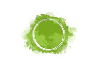 Aquarell Farbfleck in grün mit weißem Kreis in der Mitte, hochauflösende Illustration für kreative Designhintergründe