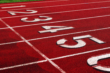 Track and Field numbered starting line.