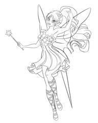 Beautiful flying fairy with magic wand. Line art coloring page vector illustration.