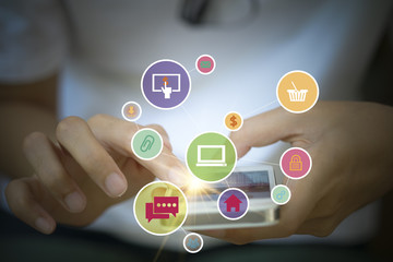 application software icons on mobile , business concept, shopping
