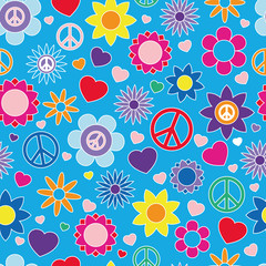 Hippie summer pattern, Bright colors, seamless vector illustration