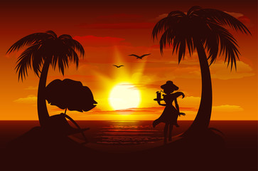Evening sunset on sea. Sea, palm trees, silhouette of girl with drink