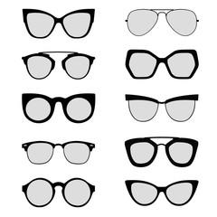 Sunglasses silhouettes black and white vectors