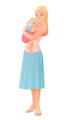 Mother holding her baby child. Cartoon vector illustration isolated on white background.