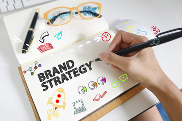 drawing icon cartoon with BRAND STRATEGY  concept on paper