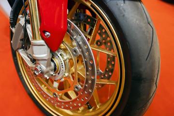 Motorcycle wheel closeup