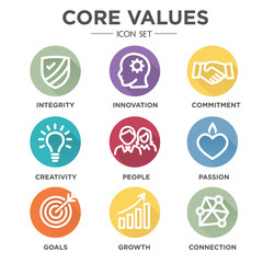 Company Core Values Outline Icons for Websites or Infographics Round MultiColored