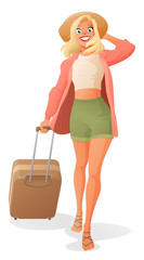 Young woman dragging luggage. Cartoon vector illustration isolated on white background.