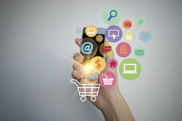shopping cart with application software icons