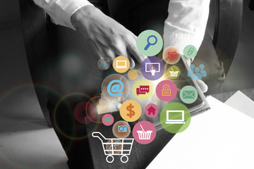shopping cart with application software icons on mobile