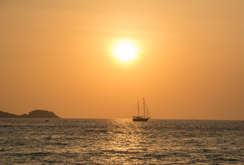 Sunset and sea, Southern, Thailand.
