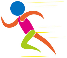 Colorful icon of man running