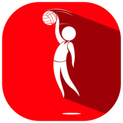 Sport icon design for volleyball on red badge