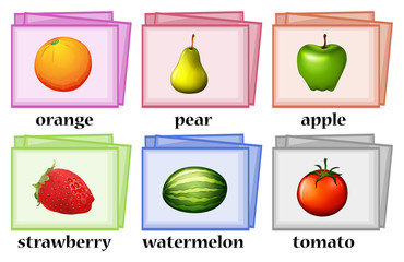 Word cards for fruits and vegetables