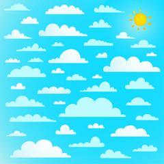 Clouds collection on blue sky with sun