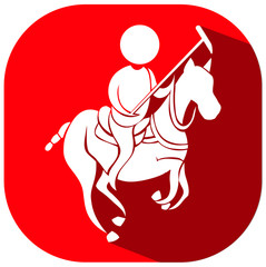 Sport icon design for equestrain on red badge