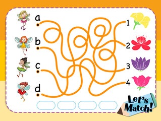Game template for matching flower and fairies