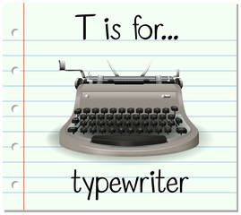 Flashcard letter T is for typewriter