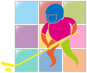 Sport icon design for ground hockey in color