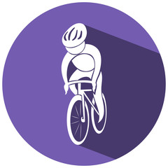 Sport icon design for cycling on round tag