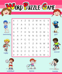 Game template with word puzzle