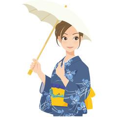 がんばるオンナノコ 浴衣+日傘