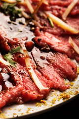 Carpaccio of beef on a plate