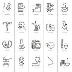 Obstetrics linear icons