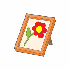 Picture frame with flower icon, cartoon style