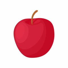 Red apple icon, cartoon style