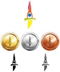 Sport icon design for gymnastics on medals