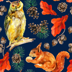 Watercolor forest wildlife seamless pattern.