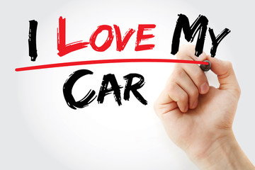 Hand writing I love my car with marker, concept