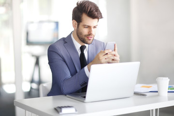 Financial businessman at work