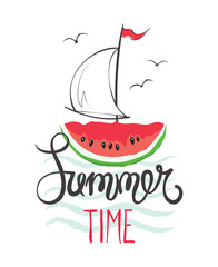 Funny summer hand drawing calligraphy/ Vector background with boat of the watermelons