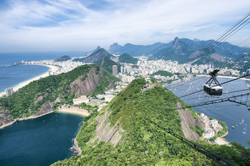 Scenic daytime view of the city skyline of Rio de Janeiro, Brazil with a Sugarloaf (Pao de Acucar) Mountain cable car passing in the foreground