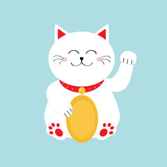 Lucky white cat sitting and holding golden coin. Japanese Maneki Neco cat waving hand paw icon. Feng shui Success wealth symbol mascot. Cute cartoon character. Greeting card. Flat Blue background