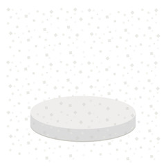 3d realistic platform for design. Star shape confetti. Round stage podium. Empty pedistal for display. Isolated. White background. Template. Flat design.