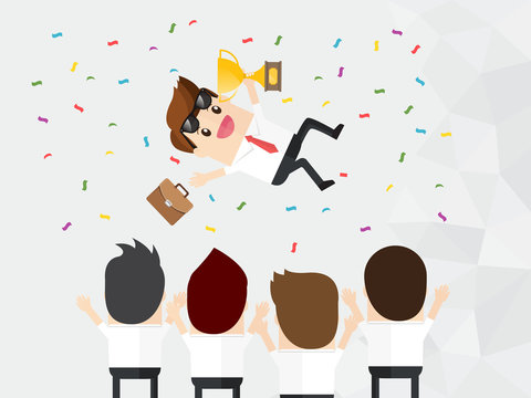 celebration of winner businessman holding briefcase and golden trophy being thrown up in air by collaboration team