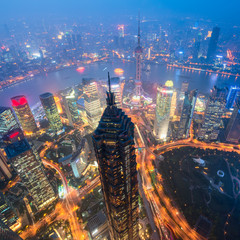 Elevated view of Lujiazui district in Shanghai. Lujiazui has been developed specifically as a new financial district of Shanghai.