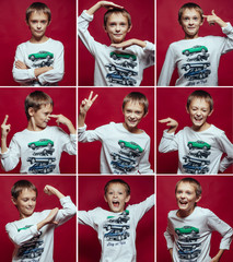 Collage of blonde boy with different facial expressions. Nine be