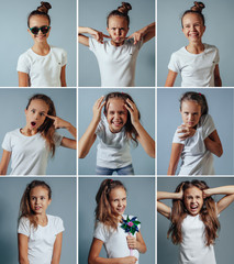 Collage of blonde girl with different facial expressions. Nine b