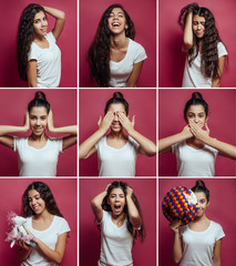 Collage of brunette girl with different facial expressions. Nine