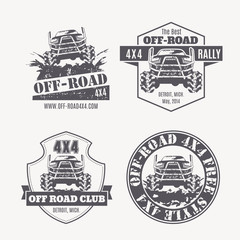 Off-road vehicle vector emblems, labels and logos