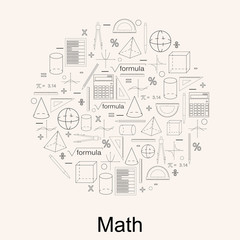 Set of math icons. Linear style. Concept of knowledge.