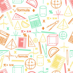 Math seamless whight pattern. Linear style.